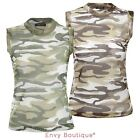 Ladies Womens Vest Top Camouflage Army Fishnet Mesh Summer Gym Top