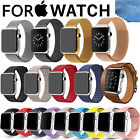 Replacement Silicone Steel PU Leather Loop Band Strap for Apple Watch Series 1 2