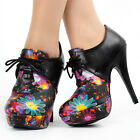 Fashion Black Floral Lace-Up Stiletto Platform Ankle Boots Size 4/5/6/7/8/9/10