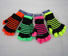 NEW FLOURESCENT STRIPES 2 IN 1 MAGIC GLOVES TWIN SET,PINK,GREEN,ORANGE,YELLOW