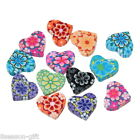 Gift Wholesale Mixed Polymer Clay Flower Heart Charm Beads 15mm x13mm