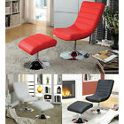 Red White Black Contemporary Padded Leatherette Chrome Lounge Chair w/ Ottoman