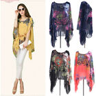 Summer Casual Chiffon Ladies Shirt Tops Floral Women Blouse Batwing One Size