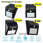 8-48 LED Solar Power PIR Motion Sensor Wall Light Outdoor Waterproof Garden Lamp
