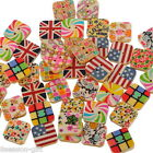 Gift Wholesale Wooden Buttons Colorful Pattern 2-hole Sewing Scrapbook DIY