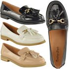 WOMENS LADIES FLAT LOAFERS PATENT FAUX LEATHER SMART CASUAL TASSEL SHOES SIZE