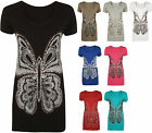 New Ladies Plus Size Butterfly Sequin Print Short Sleeve Womens Long Top 12-30