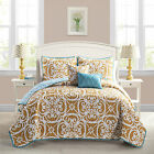 Victoria Kennedy Reversible 5 Piece  Quilt Set  Orange