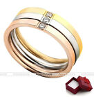 3pc/Set Women's Cubic Zirconia Crystal Steel Tri-Color Promise Ring Band Gift