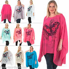 New Womens Butterfly Splash Print Watercolour Batwing Jersey Flowy Top One Size