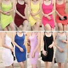 Womens Lady Sexy Mini Camisole Spaghetti Strap Extra Long Tank Top Dress Summer
