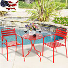 3PC Bistro Round Table Chair Furniture Set Table Patio Steel Bright Green Red