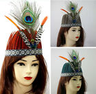 Indian Peacock Feather Headband Crown Hat Performance Costume Hair Accessories