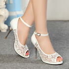 Women Lace Floral Pattern Shoes Ankle Wedding Party Slim New High Heels Sandals