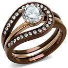 2.2 ct  Round CZ Chocolate Brown Stainless Steel Wedding Engagement Ring Set U