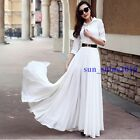 Women Chiffon Super Long sleeve Ball Gown Evening Cocktail Party Prom Maxi Dress