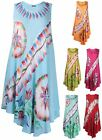 Womens Plus Size Embroidered Print Ladies Uneven Hem Flared Beach Long Dress Top