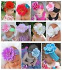 New Newborn Baby Girl Sequin Headband with Peony Flower Multi Colors PHOTO Prop