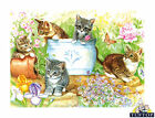 Tuftop Cats Glass Chopping Board. Kittens In Garden Design Kitchen Worktop Saver