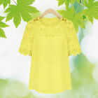 Womens Shirt Tops Short Sleeve Blouses Hollow Loose Crochet Chiffon Round Neck