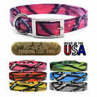 """Hunting Dog Pattern Name Collar 1"""" Strap with D Ring & Brass Tag Name ID Plate"""