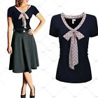 Ladies Vintage Evening Party Casual Work Wear Butterfly Knot Polka Dot Lafy Tops
