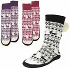 LADIES KNIT FLEECE LINED FAIRISLE BOOTIES SLIPPER SOCKS W POM POM UK 4-7