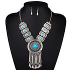 Women Turquoise Crystal Charm Choker Bib Statement Necklace Chain Earring set