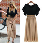 Fashion Hot Women Summer Long Pleated Cotton Match Chiffon Gown Sun Dress Skirt
