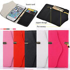 Leather Zipper Wallet Hard Phone Case Cover Card Holder For Apple iPhone 5 SE 5S