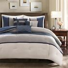 Blue & Grey Microsuede Comforter Bed Skirt Pillow AND Shams Pillows