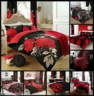 Red Black Floral Duvet Quilt Cover & Pillowcases Reversible Bed Set All Sizes