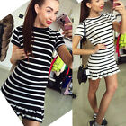 HOT Ladies Women Casual Striped Sexy Cocktail Dress Flared Pleated Party Dress