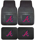 Atlanta Braves Heavy Duty MLB Floor Mats 2 & 4 pc Sets for Cars Trucks & SUV's