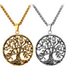 Stainless Steel Big Round Tree of Life Pendant Necklaces 18K Gold Plated Jewelry
