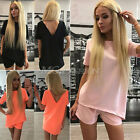 Womens Short Sleeve Jumpsuit Top Blouse Shorts Two Piece Casual Summer Sexy Suit