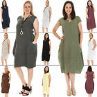 New Womens Italian Lagenlook Quirky Sleeveless Cotton Midi Dress One Size Plus