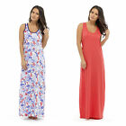Womens Floral Pink Maxi Dress Long Stretch Cotton Summer Fashion Casual Jersey