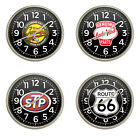 "FCR11 GAS OIL THEMED LOGO 11.38"" ROUND WALL CLOCK SILVER FINISH PLASTIC FRAME"