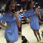 Sexy Lady Off Shoulder Women Dresses Party Shirt Dress Cocktail Ruffles Dress