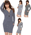 Womens Stretch Bodycon Pocket Striped Zip V-Neck Long Sleeve Ladies Dress Top