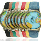 HQ  Map Plane Pattern Travel Watch Denim Quartz Watch Cusual Dress Watch