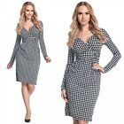 Glamour Empire Women's Houndstooth Check Long Sleeve Pleated Jersey Dress 231