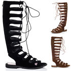 Womens Lace Up Flat Gladiator Sandals Shoes Sz 3-8
