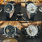 MCE Brand Faux Leather Band Tourbillon Automatic Mechanical Men Wrist Watch