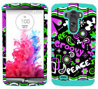 Retro Peace Groovy Pink Mint Blue Hybrid Dual Layer Case Cover for LG Optimus G3