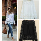 Women Fashion Long Sleeve Embroidery Tops Blouse Lace Crochet Chiffon Shirt New