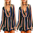 Women Fashion Rompers Bandage Long Sleeve Jumpsuits Vintage Striped Sexy