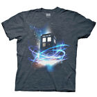 Doctor Who TARDIS In Space Bright Color Licensed Adult T-Shirt - Blue