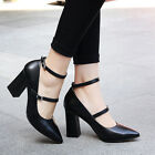 Korea Pointy Toe Sweet Ankle Strappy High Block heel OL Dress Womns Shoes Pumps